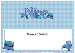 Large Dl 9th Birthday Gadgets N Gizmos Insert