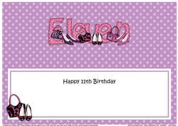 Large Dl 11th Birthday Shoes & Handbags Insert
