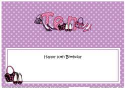 Large Dl 10th Birthday Shoes & Handbags Insert