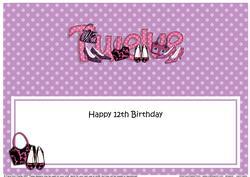 Large Dl 12th Birthday Shoes & Handbags Insert