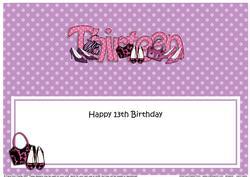 Large Dl 13th Birthday Shoes & Handbags Insert