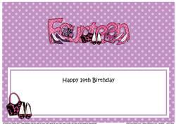 Large Dl 14th Birthday Shoes & Handbags Insert