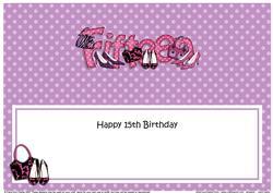 Large Dl 15th Birthday Shoes & Handbags Insert