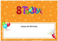 Large Dl 8th Birthday Celebrations Insert