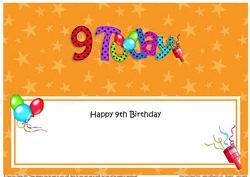 Large Dl 9th Birthday Celebrations Insert