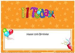 Large Dl 11th Birthday Celebrations Insert