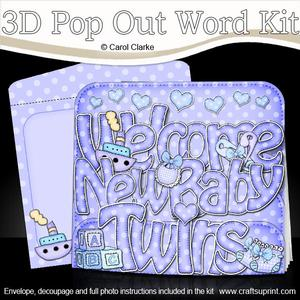 3D New Baby Boy Twins Pop Out Word Card Kit