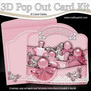 3D Perfume and Butterflies Pop Out Card Kit