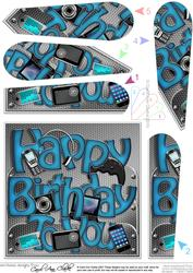 Happy Birthday Gadgets N Gizmos Fan Pyramage Topper