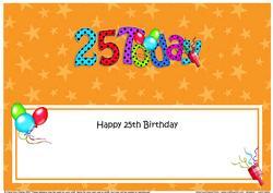 Large Dl 25th Birthday Celebrations Insert