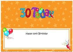 Large Dl 30th Birthday Celebrations Insert