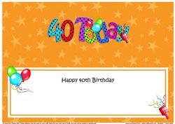 Large Dl 40th Birthday Celebrations Insert