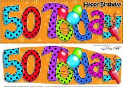 Large Dl 50th Birthday Celebrations Card & 3D Decoupage