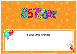 Large Dl 85th Birthday Celebrations Insert