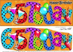 Large Dl 65th Birthday Celebrations Card & 3D Decoupage