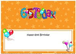Large Dl 65th Birthday Celebrations Insert