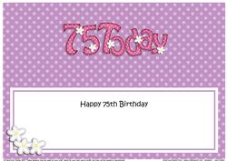 Large Dl 75th Birthday Flowers Insert