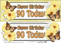 Large Dl 90th Birthday Floral Butterflies 3D Decoupage