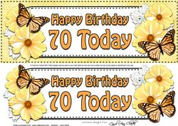 Large Dl 70th Birthday Floral Butterflies 3D Decoupage