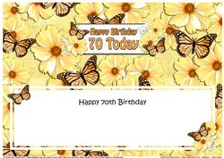 Large Dl 70th Birthday Floral Butterflies Insert
