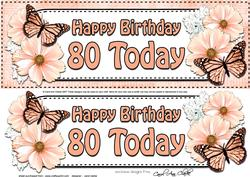 Large Dl 80th Birthday Floral Butterflies 3D Decoupage
