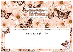 Large Dl 80th Birthday Floral Butterflies Insert