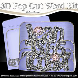 3D 65th Birthday Jean with Bling Pop Out Word Card