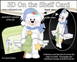 3D on the Shelf Card Kit - Little Christmas Bichon Frise Dog