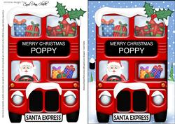 Christmas Santa Express Poppy A5 3D Decoupage