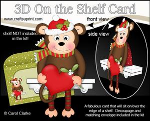 3D on the Shelf Card Kit - Little Christmas Monkey