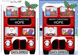 Christmas Santa Express Hope A5 3D Decoupage