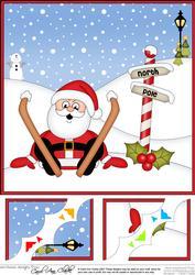 8 x 8 Christmas Oops Skiing Santa Scalloped Corner Topper