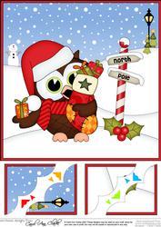 8 x 8 Christmas Little Hoot Owl's Stocking Scalloped Corner