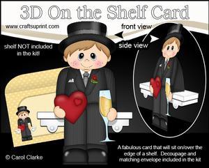 3D on the Shelf Card Kit - Hearts Love & Romance Boy Arran