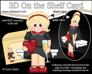 3D on the Shelf Card Kit - Hearts Love & Romance Girl Claire