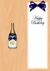 Large Dl 40th Birthday Champers in a Box Insert