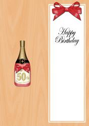 Large Dl 50th Birthday Champers in a Box Insert