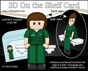3D on the Shelf Card Kit - Little Nhs Paramedic Sheryl