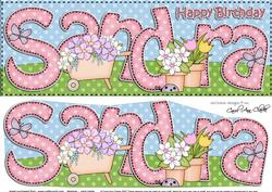 Large Dl Birthday Sandra Gardening 3D Decoupage