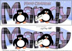 Large Dl Christmas Mandy Penguins 3D Decoupage