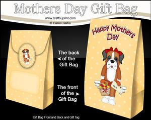 3D Boxer Dog's Flowers for Mum Mothers Day Gift Bag Mini Kit