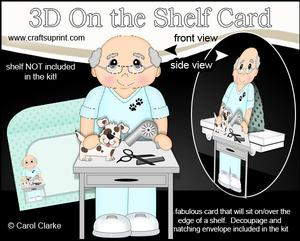 3D on the Shelf Card Kit - Little Dog Groomer Old Man Greg