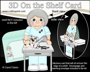 3D on the Shelf Card Kit - Little Dog Groomer Old Lady Gert