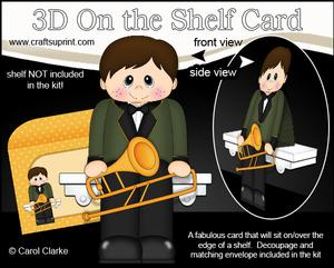 3D on the Shelf Card Kit - Little Trombone Player Boy Jared