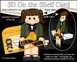 3D on the Shelf Card Kit - Little Trombone Player Girl Alys