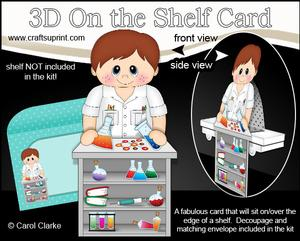 3D on the Shelf Card Kit - Little Boy Scientist Erik