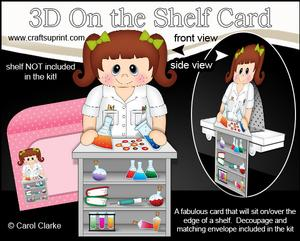 3D on the Shelf Card Kit - Little Girl Scientist Lacy