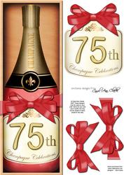 Large Dl 75th Champers in a Box Quick Card 3D Decoupage