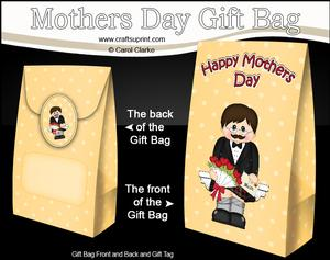 3D Scottish Man's Flowers for Mum Mothers Day Gift Bag