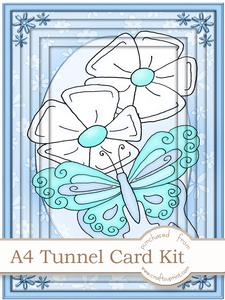A4 Fluttery Butterfly in Green Tunnel Card Kit